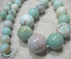"""NATURAL 6-14mm Faceted Green Amazonite Gemstone Round Necklace 17 /"""""""