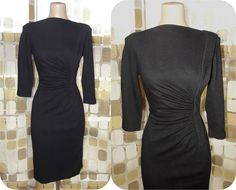Vintage 50s Black Wool Knit Hourglass Cocktail by IntrigueU4Ever