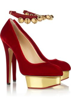 Charlotte Olympia | Jingle Bell Dolly velvet platform pumps | NET-A-PORTER.COM