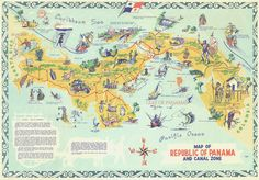 Old Zonian Tourist map of panama, when USA was in charge of the Canal