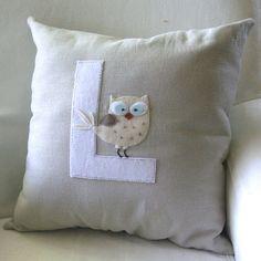 Owl Letter Pillow. White by ChristineElliott on Etsy