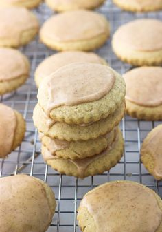 Cinnamon maple sugar cookies are tender and cinnamon-spiced, with a hint of maple flavor in the dough. Topped with an easy, quick-setting cinnamon glaze.