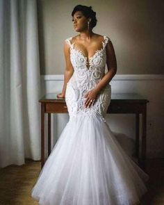 Mermaid Wedding Dresses Sexy Mermaid Wedding Dresses Crew Neck Lace Pearls South African Girl Bridal Gowns · Tobebride · Online Store Powered by Storenvy Antique Wedding Dresses, Plus Size Wedding Gowns, Dream Wedding Dresses, Bridal Dresses, Couture Dresses, Curvy Wedding Dresses, Wedding Dresses Fit And Flare, Dhgate Wedding Dress, Full Figure Wedding Dress