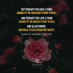 """""""But perhaps you hate a thing and it is good for you; and perhaps you love a thing and it is bad for you. And Allah Knows, while you know not."""" - [Surah Al-Baqarah 