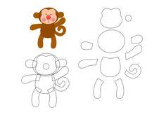 Friends of the Felt: Erica Catarina Safari Template Felt Templates, Applique Templates, Applique Patterns, Felt Diy, Felt Crafts, Erica Catarina, Sewing Crafts, Sewing Projects, Monkey Pattern