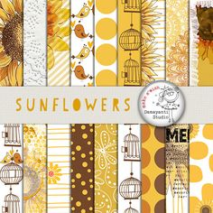 Sunflower Digital Paper, Yellow Floral Printable, Sunflower Background, Brown…