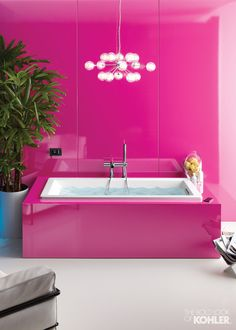 Home Ideas from KOHLER - for the ladies who love pink, this VibrAcoustic tub has built in hidden speakers so you can FEEL the music as you hear it - heaven!