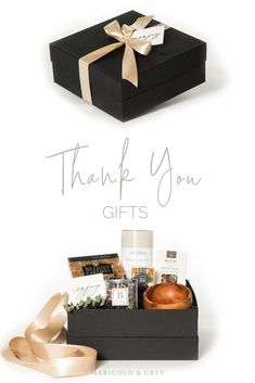 THANK YOU GIFTS// Black and beige gift boxes with snacks and artisan goods are the perfect summer gift idea for clients, hostesses and friends, curated by Marigold & Grey. Gift Box For Men, Wine Gift Baskets, Basket Gift, Curated Gift Boxes, Professional Gifts, Client Gifts, Branded Gifts, Mom Birthday Gift, Corporate Gifts