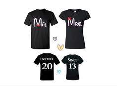Disney Matching Couples Tees Mr and Mrs plus Together Since your anniversary date on the back Disney Matching shirts in a Black tees by CaliPress on Etsy https://www.etsy.com/listing/236682402/disney-matching-couples-tees-mr-and-mrs