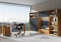modern home office with large window