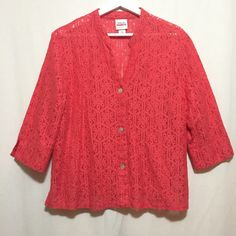 """Button Up Top Ruby Rd. button up blouse with floral details. Sz 16. Orange-pink color. 3/4 sleeves. EUC. The material is not lined so it is see through. No stretch. Bust: 22"""" Length: 25"""" Ruby Rd. Tops Blouses"""
