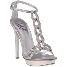 PELLE MODA Ivette Silver Leather (£76) ❤ liked on Polyvore featuring shoes, sandals, heels, high heels, sapatos, silver leather, leather sandals, platform shoes, high heel platform shoes and heeled sandals