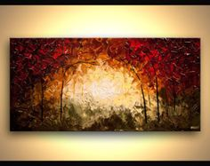 Colorful Forest  Landscape Tree Painting Original Fine Art by