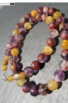 * CACOXENITH RUTILQUARZ KETTE * Cacoxenite Super 7 Rutilated Quartz Necklace * Beaded Bracelets, Necklaces, Rutilated Quartz, Quartz Necklace, Healing, Gemstones, Ebay, Jewelry, Necklace Ideas