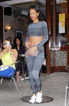 Rihanna wearing Alexander Wang x H&M Jacquard-Knit Top & Jacquard-Knit Sports Tights.