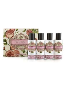NEW: Aromas Artesanales De Antigua AAA Rose Petal Travel Collection!  Take Aromas Artesanales de Antigua on your travels with our new luxury Travel Collection. Containing a luxury AAA Shampoo, Conditioner, Bath & Shower Gel and Body Cream in your choice of five floral fragrances.