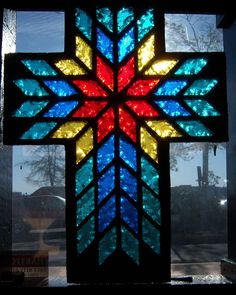 Dalle de verre 1 inch thick stained glass Cross by garymcanally, $400.00