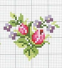 Small cross stitch chart(sweet roses in heart shape) Small Cross Stitch, Cross Stitch Heart, Cross Stitch Flowers, Cross Stitch Designs, Cross Stitch Patterns, Cross Stitching, Cross Stitch Embroidery, Embroidery Patterns, Flower Embroidery