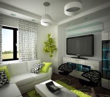 Aranżacja salonu wystrój nowoczesny w kolorach biel, czerń, szary, zieleń - projekt wnętrza #6622802, Homplex