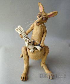 The Intruder : Kangaroo and Rabbit Whimsical Ceramic Sculpture