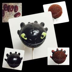 Toothless How to Train Your Dragon cake pops. Slice one jelly in half & slice another jelly bean into quarters. Find me on Instagram #Kandymaker