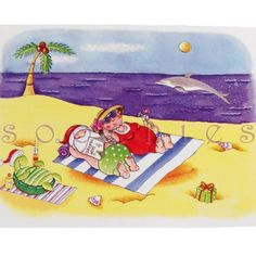New Santa Mrs Claus Christmas Holiday on Beach South Tropical Vacation Card | eBay