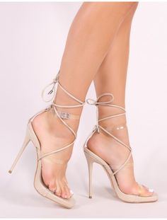 e0d5cfdaa0f Matcha Clear Perspex Strappy Block Heel In Black. Falon Jaloi · Looks ·  Lassie Lace Up Heels in Nude Patent