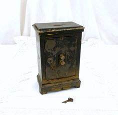 """Antique Working French Replica Metal Safe """" Coffre Fort"""" Money Box / Still Bank with Original Key, Coffer, Vintage Piggy Bank, Home Decor by VintageDecorFrancais on Etsy"""