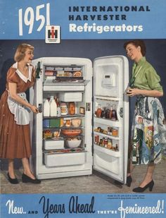 IH Refrigerators A woman demonstrates the features of a well-stocked International Harvester refrigerator, circa Color advertising poster for International Harvester refrigerators showing. Vintage Trends, Vintage Ads, Vintage Posters, Vintage Stuff, Old Advertisements, Retro Advertising, Retro Ads, International Harvester, Old Tractors