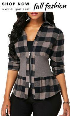 Long Sleeve Zipper Front Plaid Print Blouse - Trend Way Dress Trendy Tops For Women, Blouses For Women, Jackets For Women, Plaid Outfits, Casual Outfits, Mode Outfits, Fashion Outfits, Fashion Trends, Formal Blouses