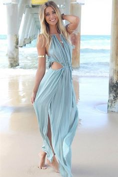 Summer is finally here, and it's time to get your carefree on! We have just the maxi dress to help you do it-- it has a plunging neckline, super sexy cutout at sides, and high slit looks very sexy. Wear it with your platforms and a boho shoulder bag for a beach look!