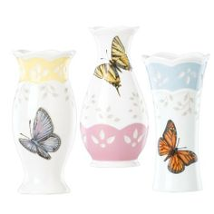 Lenox Butterfly Meadow Colors 4-3/4-Inch Small Vase, Set of 3 by Lenox. $29.95. Three small bud vases. Crafted of Lenox fine white porcelain. Lenox Butterfly Meadow Colors 4-3/4-inch Small Vase, Set of 3. These three bud vases each have a different shape and a different pastel band - blue, pink and yellow. They also each feature a different butterfly - a monarch, tiger swallowtail and blue butterfly. All of the vases are encircled by a pierced design.