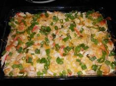 Creamy seafood casserole. Per the reviews, will cook the shrimp and tilapia first. Will add some garlic and green onions. Might be good with a side to soak up sauce since described as soupy.