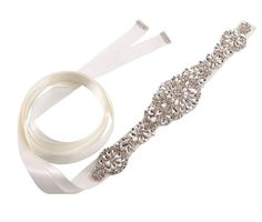Rhinestone Flower Bridal Belt - Ivory