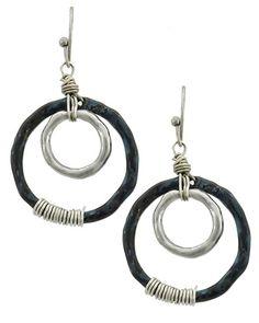Burnished Silver & Patina / Lead&nickel Compliant / Metal / Fish Hook / Circle / Dangle / Earring Set