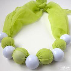 DIY, beaded, fabric scarf necklace