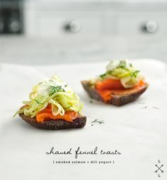 Shaved fennel, smoked salmon and dill toasts