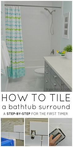 How to Tile a Tub Surround- Taking on this project when remodelaing a bathroom can save you so much money and these steps and tips are so helpful!