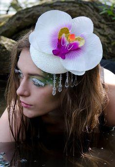 White Orchid Iridescent Glitter  Sparkle Hair Accessory Unique Fascinator Headwear Bride Wedding by Pearls & Swine on Etsy, $104.04