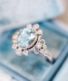 Trumpet and Horn Antique Aquamarine Engagement Ring