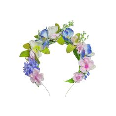 A pretty floral headband. Beautiful wild meadow flowers in pinks, blues and greens decorate this headband and create a delicate and detailed. Meadow Flowers, Silk Flowers, Floral Headbands, Floral Crowns, Floral Headdress, Festival Chic, Pinup Couture, Floral Hair, Brides And Bridesmaids