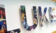 Sonic the Hedgehog Room Decor Ideas - Yahoo Image Search Results Big Wooden Letters, Book Letters, Alphabet Letters, Superhero Groups, Sonic Party, Kids Bedroom, Bedroom Ideas, Just In Case, Sonic The Hedgehog