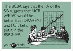 The BCBA says that the FA of the SIB suggests that NCR w/FT60 would be better than DRA EXT and FCT. Let's put it in the BSP & IEP.