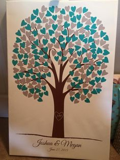 Heartwik Wedding Tree | Guest Book Alternative | Rustic Wedding | Customer Photo | Wedding Colors - Gray & Blue | peachwik.com