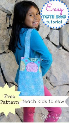 Easy tote bag tutorial www.skiptomylou.org #sewing #freesewingpatterns #sewingwithkids