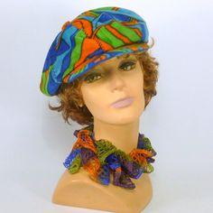 Zeitungsjunge handgefertigte Style Cap Hut - mehrfarbiger Avante Garde Velour - - Männer - Frauen - Teens - zwanziger Jahre dreißiger Jahre 60er Jahre