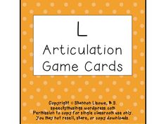 Speechy Musings: Articulation Deck of Cards for L. Pinned by SOS Inc. Resources. Follow all our boards at pinterest.com/sostherapy for therapy resources.
