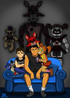 """The Family"" FNAF Art by Edgar-Games Sister: Smile for the camera! THE FAMILY - FNAF Five Nights At Freddy's, Fnaf 1, Anime Fnaf, Markiplier Fnaf, Pokemon Fusion, Digimon, Olympus Pen F, Fnaf Wallpapers, Freddy 's"
