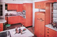 Vintage home design design Vintage Room, Vintage Kitchen, Vintage Decor, 1950s Kitchen, Vintage Interior Design, Vintage Interiors, Interior Colors, Modern Kitchen Design, Interior Design Kitchen