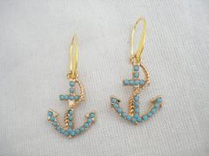 Anchor earrings, Turquoise dangles, Gold anchor drops, Nautical jewelry, Marine jewelry, Beach wedding theme, Vacation jewelry, Bestie gift Anchor Jewelry, Anchor Earrings, Nautical Jewelry, Goddaughter Gifts, Bestie Gifts, Beach Bridesmaids, Bridesmaid Gifts, Greek Gifts, Best Dad Gifts